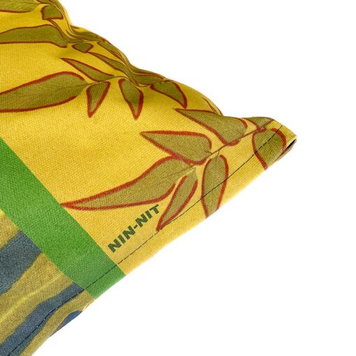 Vierkant sierkussen katoen botanisch groen