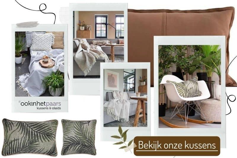 groen en bruin in huis combineren met lichte bank