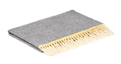 wiegdeken grijs wol visgraat