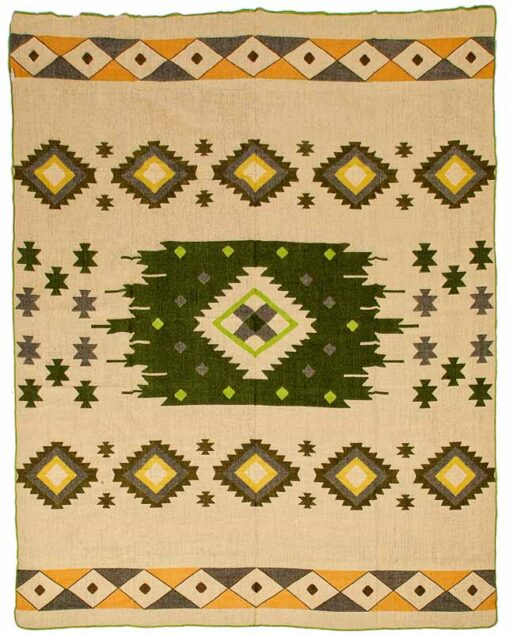 Alpacawollen sprei plaid groen beige native print