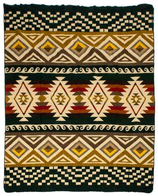 Donkergroene sprei plaid native alpacawol cayambe