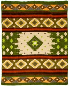 Donkergroene sprei plaid native alpacawol quilotoa