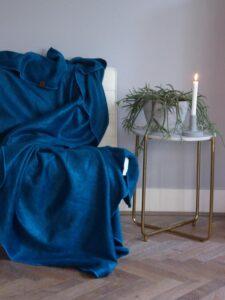 Plaid blauw alpacawol