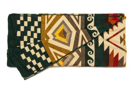 Plaid sprei groen alpacawol native print