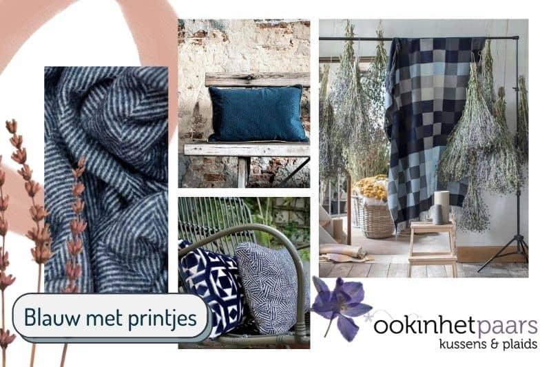 Blauwe kussens en plaids met printjes