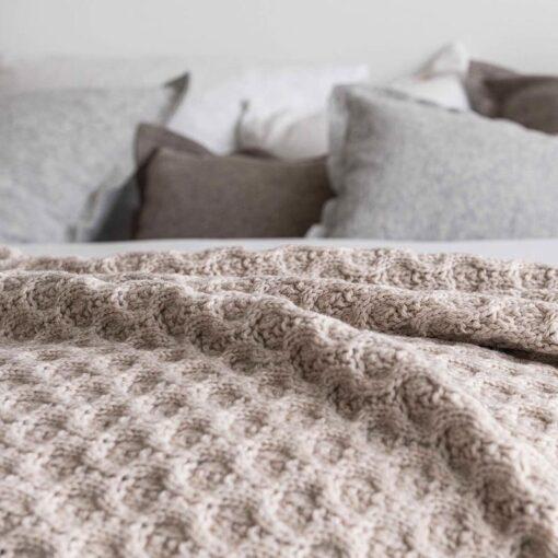 Plaid beige wol acryl cosy