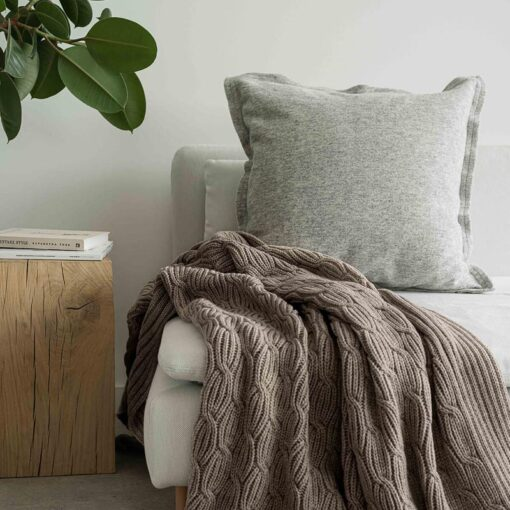 Plaid beige wol acryl moyha warm pleat