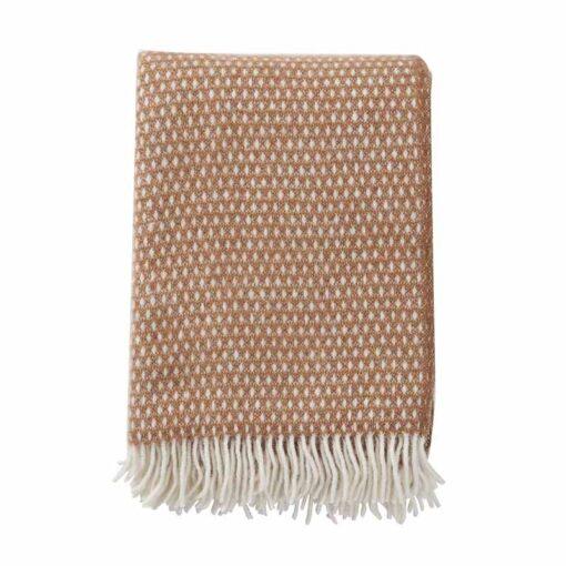 Plaid bruin lamswol klippan knut