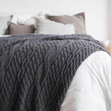 Plaid donkergrijs wolmix gebreid pretty pattern