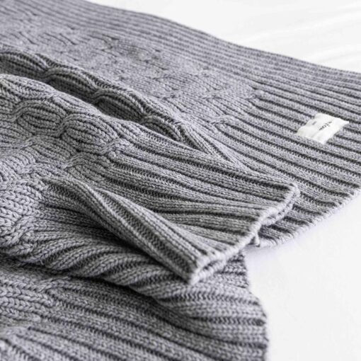 Plaid grijs gebreid moyha detail