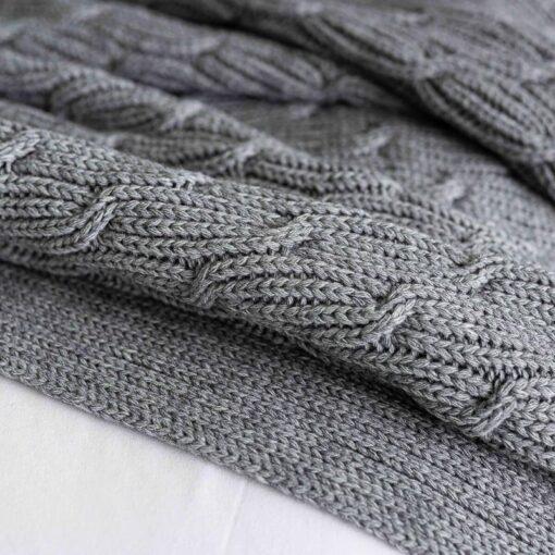 Plaid grijs gebreid patroon wolmix