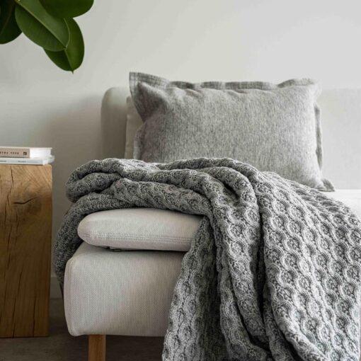 Plaid grijs wol acryl cosy