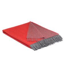 Plaid rood merinowol paradise reversible grijs