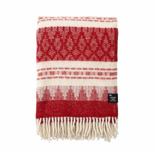 Plaid rood wit wol klippan freja