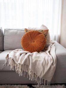 plaid beige katoen ottoman