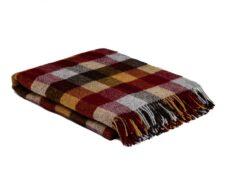 plaid bordeaux okergeel bruin blokken wol