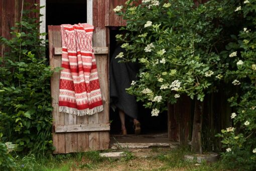plaid rood wit wol klippan strepen freja