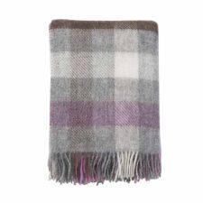 plaid roze wit bruin grijs ruiten wol