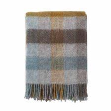 plaid turquoise bruin grijs ruiten wol
