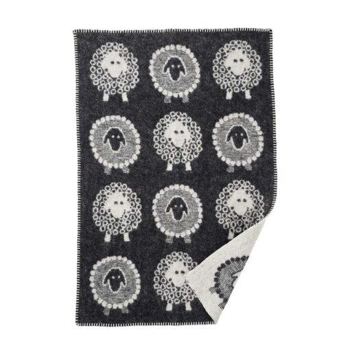wiegdeken wol zwart wit schaapjes klippan