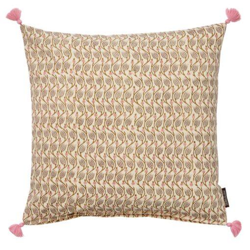 Kussen beige roze blokprint katoen Lotus Sandstone